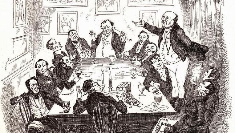 Het personage Samuel Pickwick werd wereldberoemd in Engeland door Dickens' debuutroman 'The Pickwick Papers'. Beeld rv