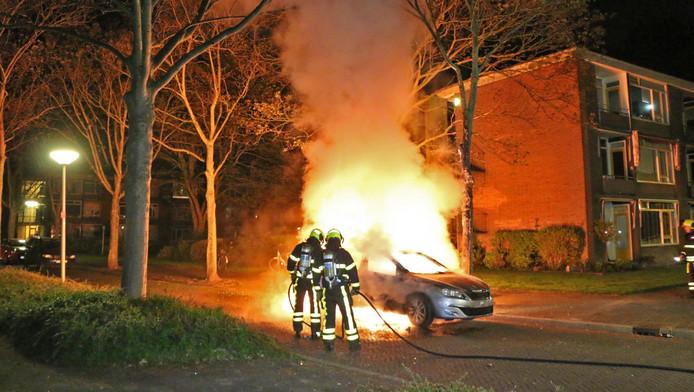 De brandweer doet z'n best, maar de auto valt niet meer te redden.