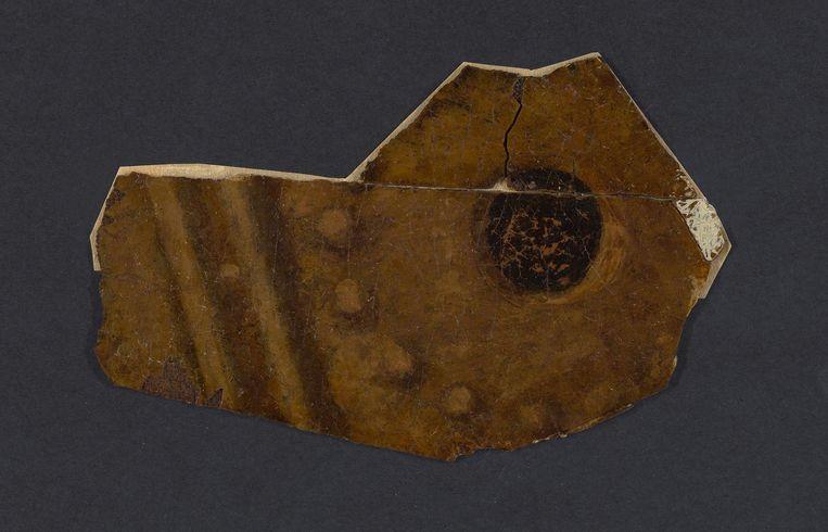 Inzetstuk van de trommel uit de Nachtwacht. Het stukje werd in 1975 of 1976 verwijderd, maar is niet origineel. Beeld Carola van Wijk