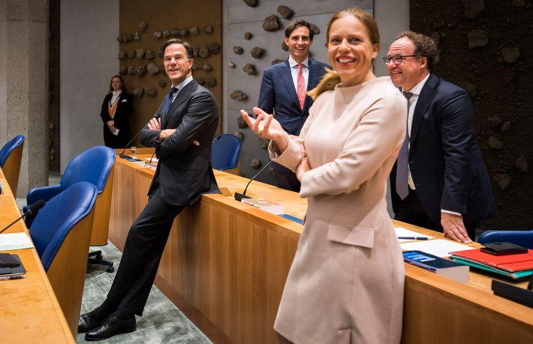 Mark Rutte, Wopke Hoekstra, Carola Schouten en Wouter Koolmees voor aanvang van de Algemene Politieke Beschouwingen. Beeld Freek van den Bergh / de Volkskrant