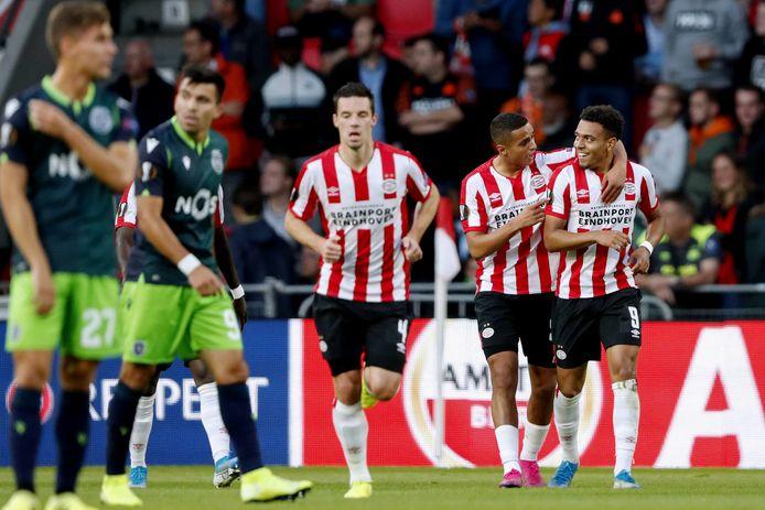 Nick Viergever, Mohamed Ihattaren en Donyell Malen in september 2019 tijdens PSV-Sporting Portugal.