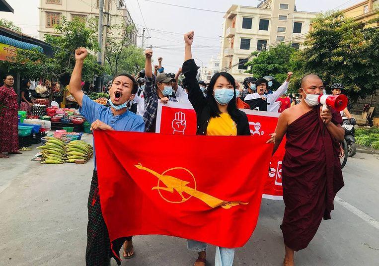 Protesten tegen de militaire coup in Myanmar.  Beeld AFP