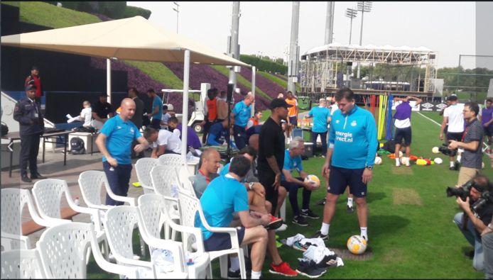 Arjen Robben, Nigel de Jong en Wesley Sneijder bij de training van PSV.
