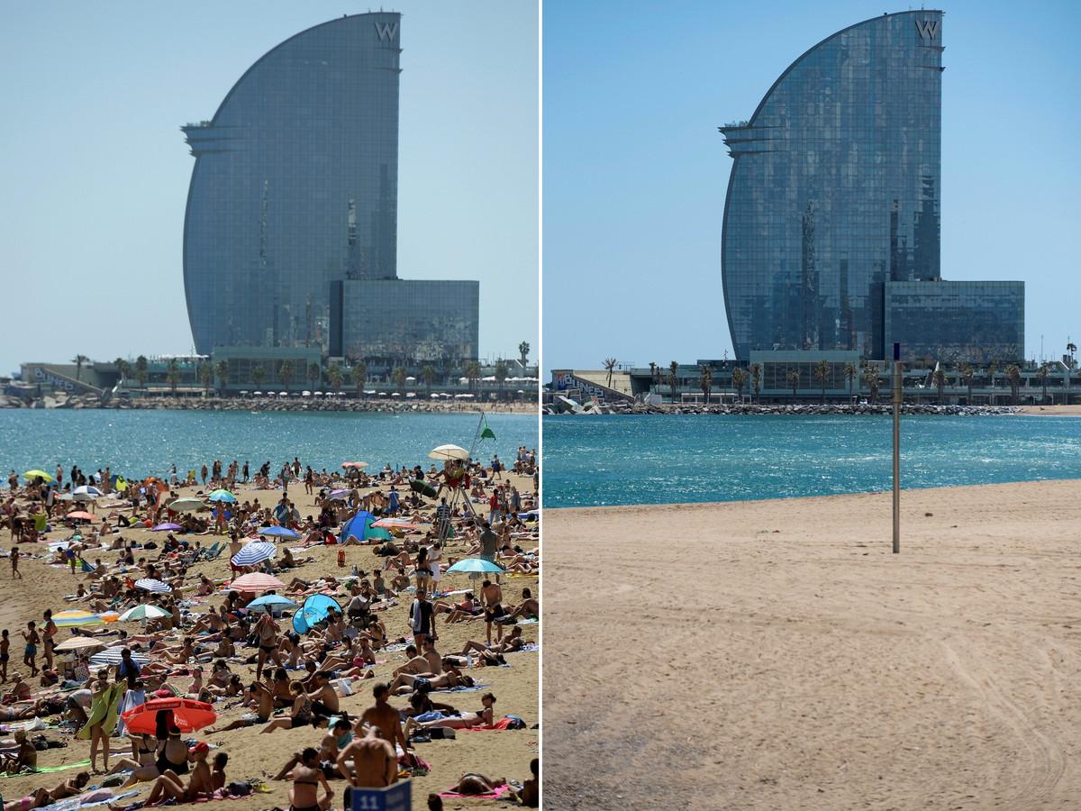 Het strand in Barcelona in 2017 (links) en 2020 (rechts).