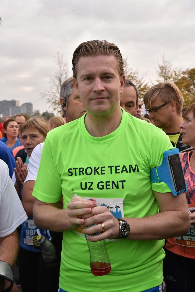 Deelnemer Kris Bracke, die vorig jaar nog getroffen werd door een beroerte.