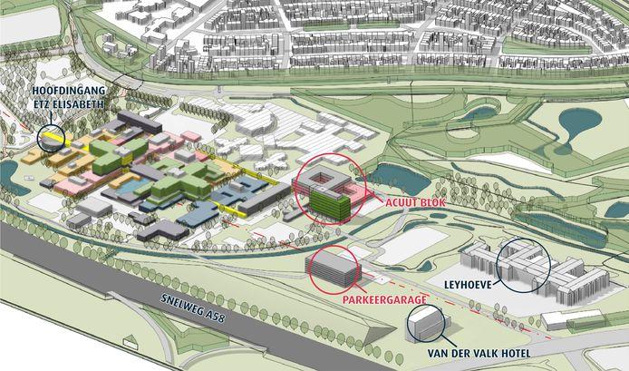 Het nieuwe gebouw voor de spoedzorg (rood/grijs), met daarnaast de nieuwe verpleegafdeling dat een heli-platform op het dak krijgt (groene gebouw).