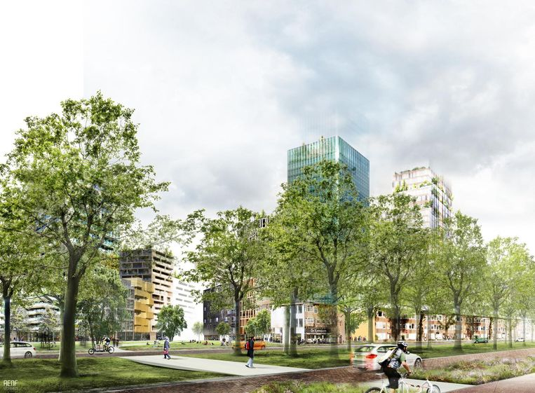 Sfeerbeeld Croeselaan met het nieuwe Beurskwartier in Utrecht. Beeld