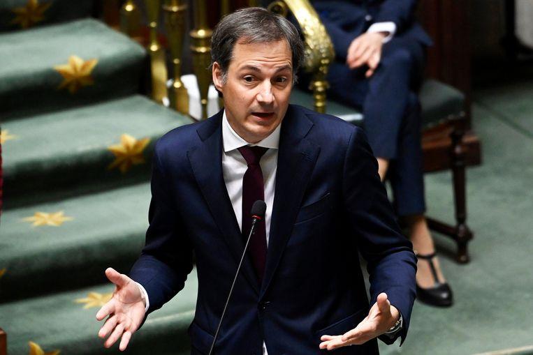 De Croo in de Kamer donderdag: 'Wat we gerealiseerd hebben, mogen we niet zomaar verspillen.' Beeld Photo News