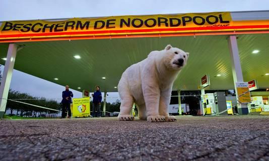 Greenpeace protesteert tegen Shell volgens hen één van de schuldigen van de klimaatveranderingen en daarmee het uitsterven van de ijsbeer.