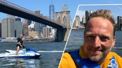 Met een jetski langs het Vrijheidsbeeld, onze man in New York test het uit