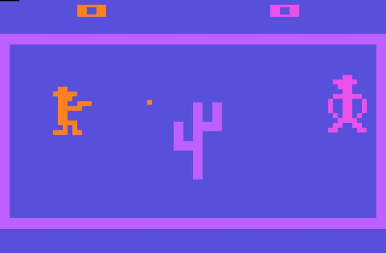 Beeld uit de prille Atarigame 'Outlaw' Beeld kos