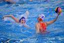 Sabrina van der Sloot afgelopen dinsdag tijdens de eerste wedstrijd op het olympisch kwalificatietoernooi tegen Slowakije.