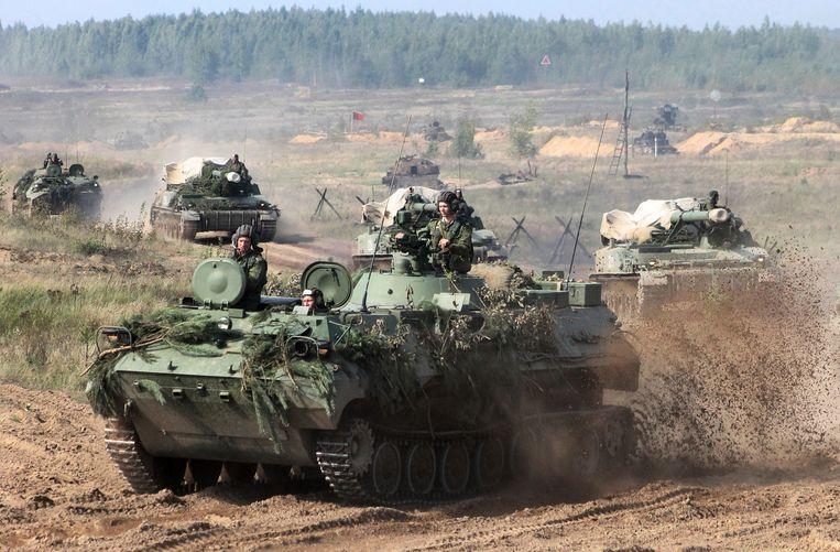 De militaire oefening 'Zapad' van Rusland en Wit-Rusland in september jongstleden Beeld AP