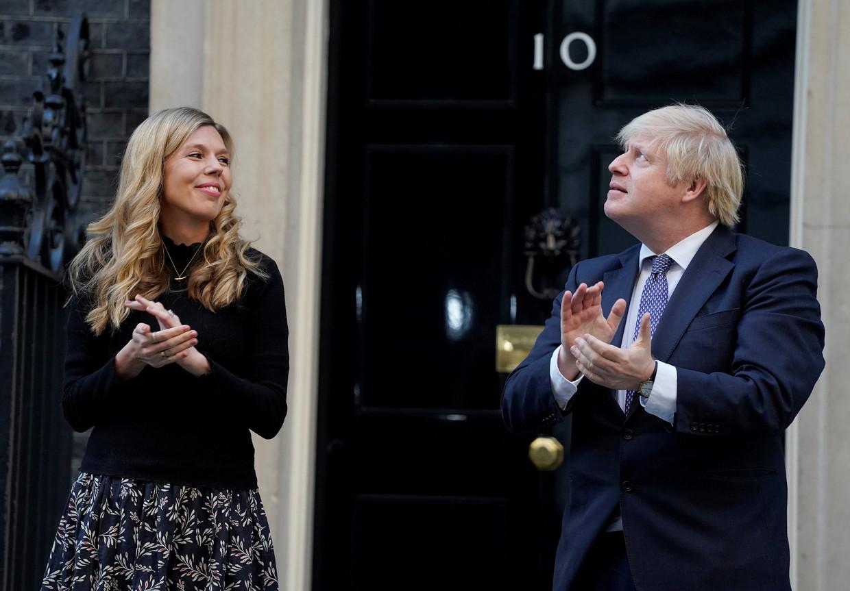 Boris Jonson en zijn verloofde Carrie Symonds. Beeld Hollandse Hoogte/AFP