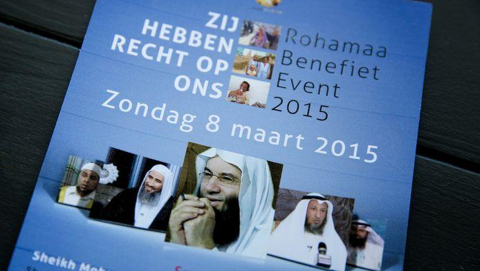 Een flyer van het Rohamaa Benefiet event in Rijswijk, waar ook mogelijk omstreden imams zouden komen. Over het evenement ontstond in de politiek veel ophef