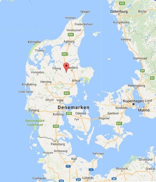 Denemarken, met bij het rode pijltje Ulstrup.