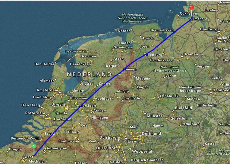 Hun vlucht van 460,51 kilometer tot in het noorden van Duitsland.