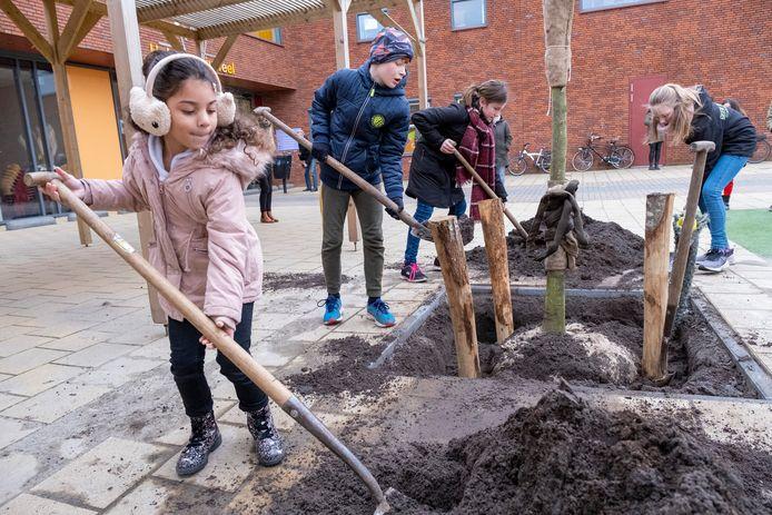 Shary-ann, Tiemen, Fay en Jedithja (vlnr) helpen met planten van vijf bomen op de schoolpleinen van het Kroonjuweel in Oost-Souburg.
