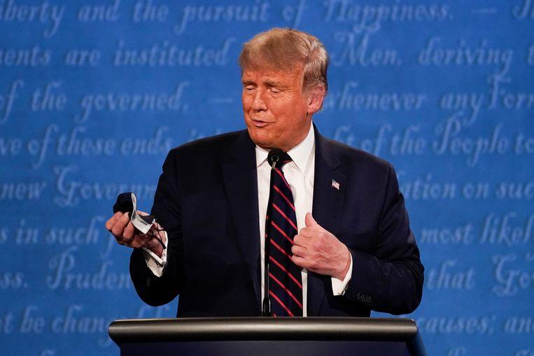 Donald Trump tijdens het eerste presidentiële debat in september.  Beeld AP
