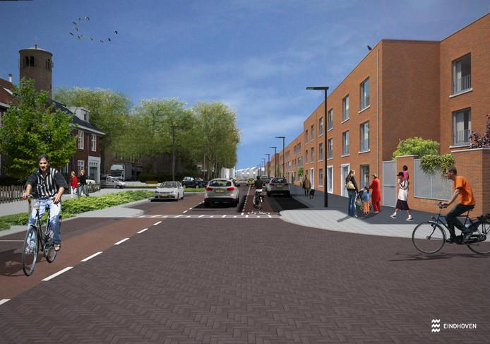 De Korianderstraat in Eindhoven zoals die er na de herinrichting uit moet gaan zien.