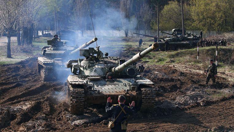 Een militaire oefening nabij Charkiv deze maand. Beeld epa