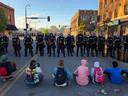 Protest tegen politiegeweld tegen zwarte Amerikanen, Minneapolis.