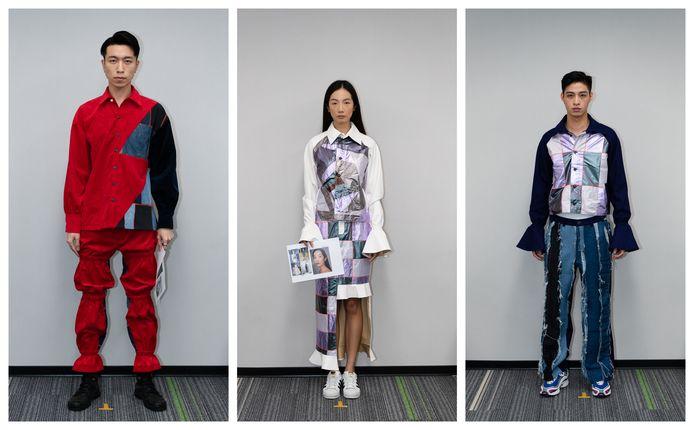 Verschillende upcycle kledingstukken die Jesper Timmers uit Enschede heeft ontworpen voor #Damur in Berlijn.