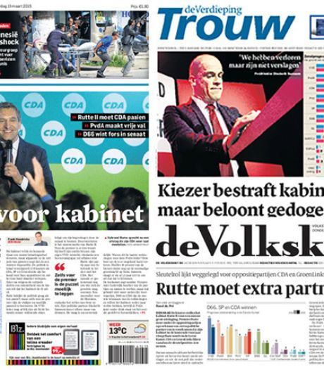 Kranten pakken uit met 'dreun' voor kabinet