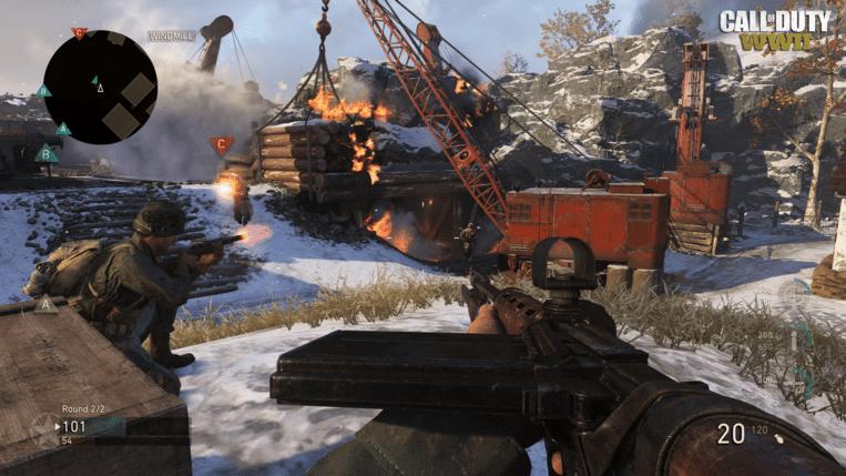 In 'Call of Duty: WWII' krijg je weer de gebruikelijke destructieve chaos voorgeschoteld, maar deze keer terug in een klassieke WOII-setting. Beeld Activision