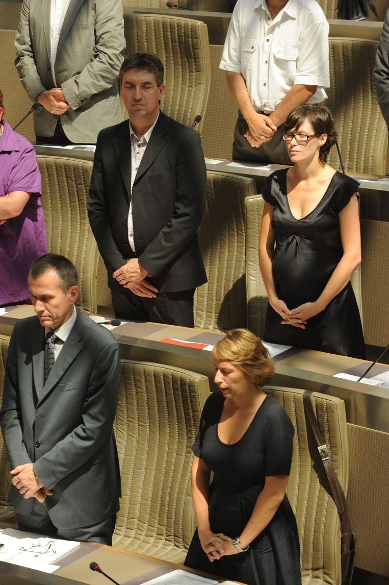 De sterkhouders van sp.a in 2009, Caroline Gennez (onder) en Freya Van den Bossche. Beeld BELGA