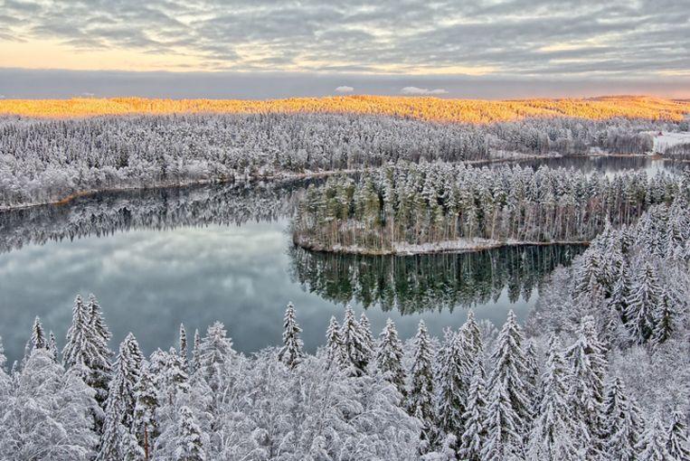 Een luchtbeeld van het meer en woud van Aulanko in Finland.