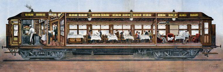 Doorsnede van de Orient Express met eetzaal en keuken, 1896. Beeld Collectie Arjan den Boer