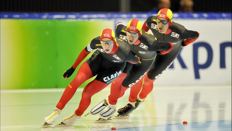 Maarten Swings, Bart Swings en Ferry Spruyt vorig jaar in Heerenveen. Beeld PHOTO_NEWS