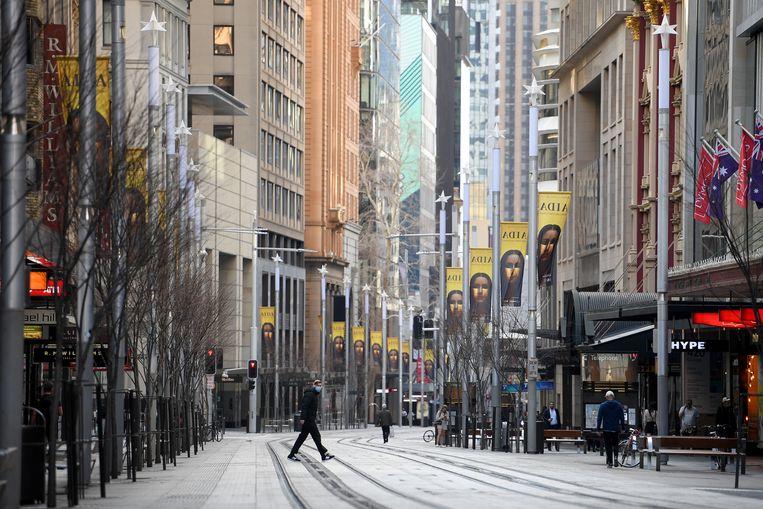 Australië is in lockdown na een 'verontrustend hoog' aantal nieuwe besmettingen.   Beeld EPA