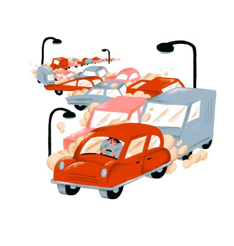 'Mensen die de auto of het openbaar vervoer nemen zijn het ongelukkigst.' Beeld Elise Vandeplancke