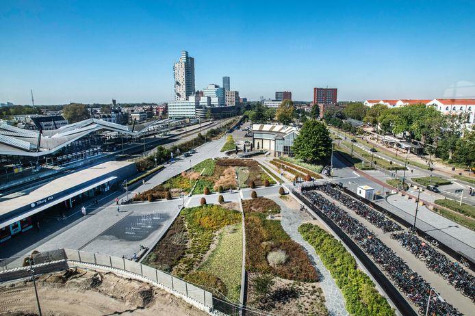 Het centrale station en een deel van  Spoorzone in Tilburg (archieffoto).