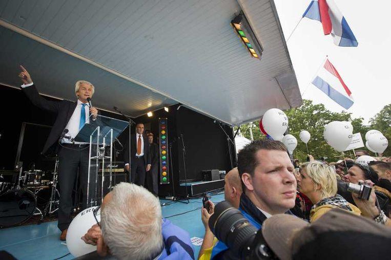 Wilders spreekt bij de PVV-demonstratie in Den Haag. Beeld anp