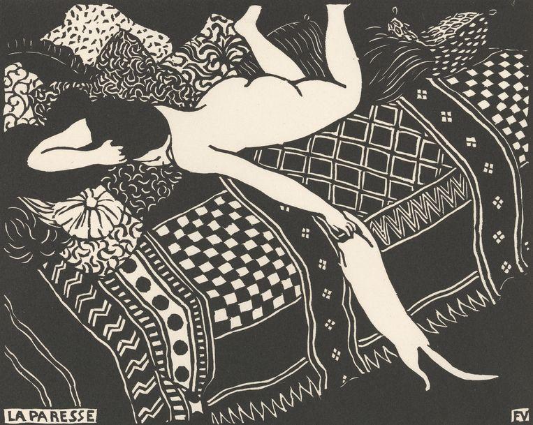 Felix Vallotton, 'Luiheid (La paresse)', 1896, houtsnede in zwart, 25 x 33 cm. Dit werk maakt deel uit van de prentenserie 'Intimités' van Valloton, die het Van Gogh Museum in haar geheel aankocht. Beeld Van Gogh Museum