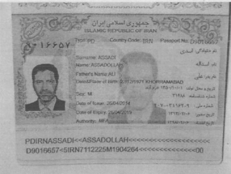 Assadi's paspoort. Beeld RV