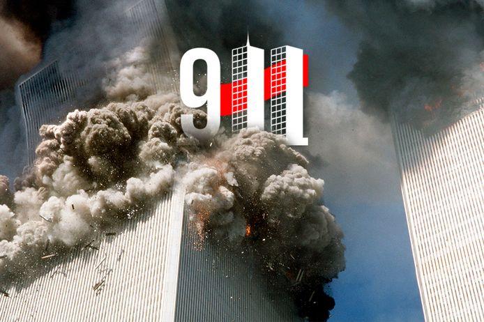 Bijna een uur na de crash, stort de zuidelijke WTC-toren in New York in.