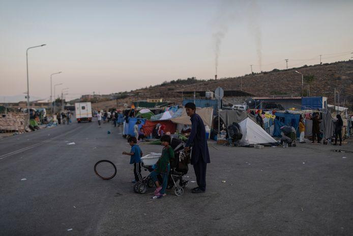 Vluchtelingen op Lesbos.