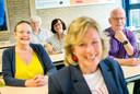 Vijf KSE-docenten gaan tegelijkertijd met (pre)pensioen: vlnr Maaike Krens, André Lievens, Ans Nijman, Corinne Schulten en Kees Lauwen.