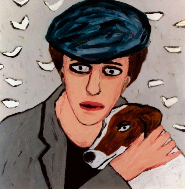 La belle et la Bete, zelfportret met hond (1983). (Trouw) Beeld
