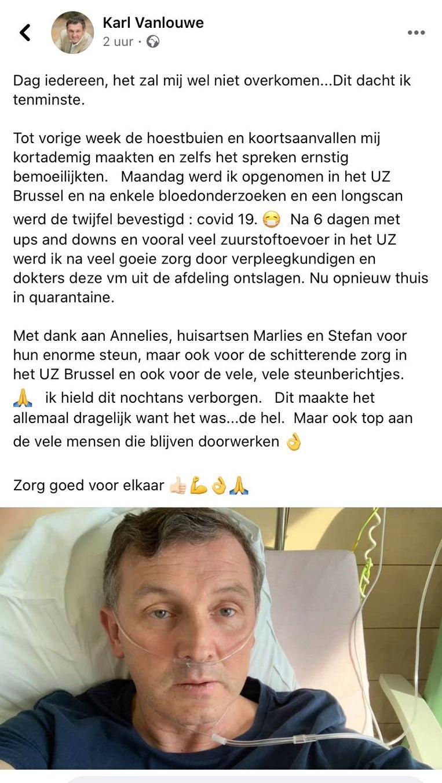 Het bericht van Karl Vanlouwe (N-VA) op Facebook. Beeld RV
