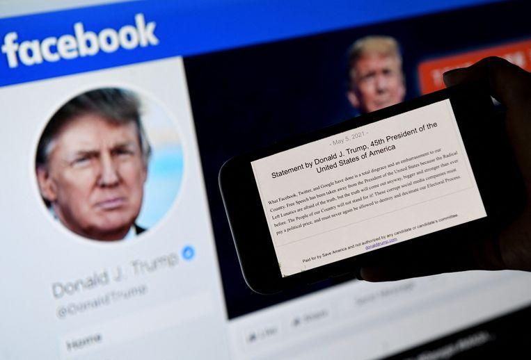 Op 'From the Desk of Donald J. Trump' verschenen korte berichten, foto's en video's, in compactheid te vergelijken met tweets. Beeld AFP