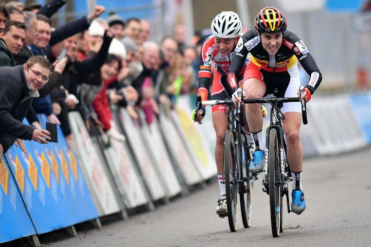 Ze hield in de sprint met twee Sophie de Boer af Beeld BELGA
