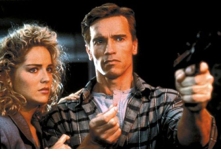 Sharon Stone en Arnold Schwarzenegger in Total Recall. Beeld