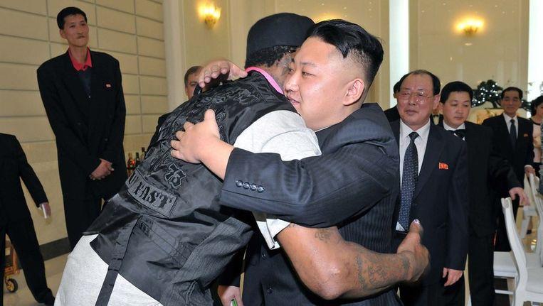 Rodman met de Noord-Koreaanse leider Kim Jong-un. Beeld ANP