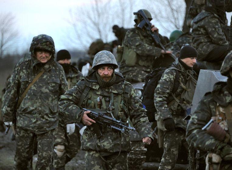 Oekraïense troepen op weg naar Slovjansk. Beeld getty