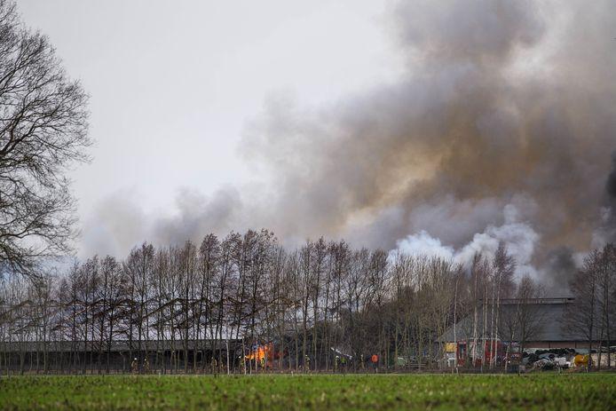 De brand bij de kippenboerderij aan de Bentelerhaarweg in Bentelo.